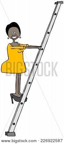 Illustration Of A Black Girl In A Short Dress Climbing An Aluminum Ladder.