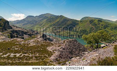View From Dinorwic Quarry, Near Llanberis, Gwynedd, Wales, Uk - With Llyn Peris, The Dinorwig Power