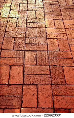 Brick Pavement, A Select Focus On An Old Pavement That Pave By Rectangle Maroon Color Bricks Crack B