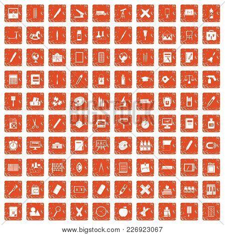 100 Stationery Icons Set In Grunge Style Orange Color Isolated On White Background Vector Illustrati