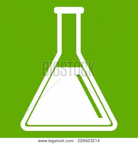 Test Tube With Oil Icon White Isolated On Green Background. Vector Illustration