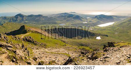 View From The Summit Of Mount Snowdon, Snowdonia, Gwynedd, Wales, Uk - Looking West Towards Llyn Cwe