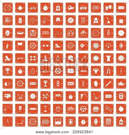 100 Stopwatch Icons Set In Grunge Style Orange Color Isolated On White Background Vector Illustratio