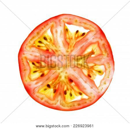 Isolate Tomato Thin Cross Section, Isolate Tomato Thin Cross Slice, A Closeup Photo Image Of Tomato