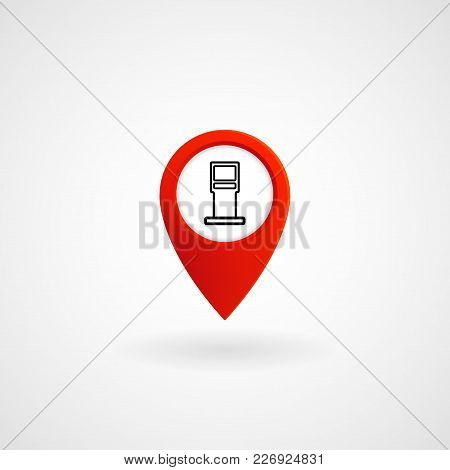 Red Location Icon For Oil Station, Vector, Illustration, Eps File
