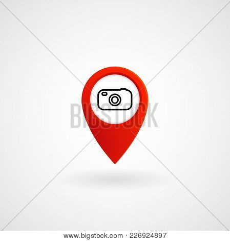 Red Location Icon For Photographer Studio, Vector, Illustration, Eps File