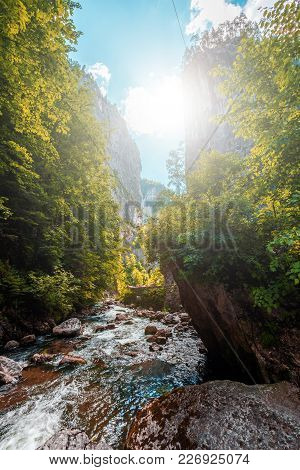 Wonderful Sunny Mountain Scenery. River In Canyon In Mountans Gloving In Sunlight. Romania- Carpathi
