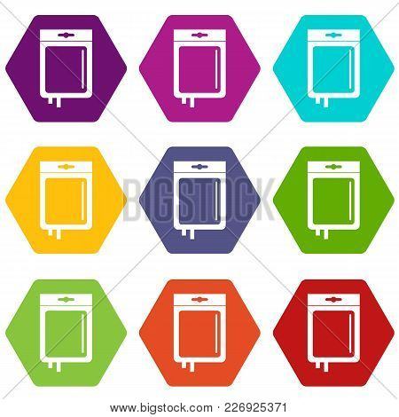 Blood Transfusion Icon Set Many Color Hexahedron Isolated On White Vector Illustration