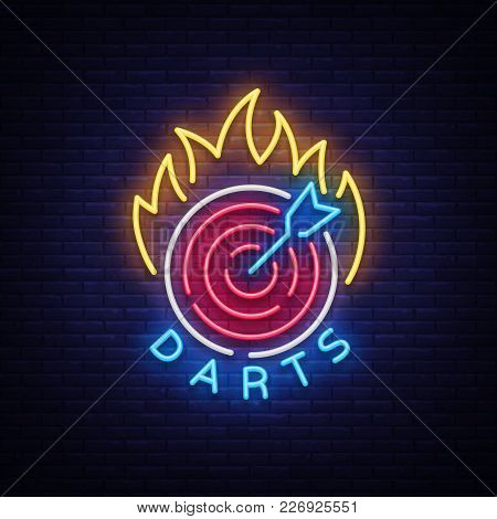 Darts Logo In Neon Style. Neon Sign, Bright Night Advertising, Light Banner. Vecton Illustration.