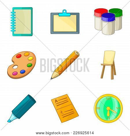 Learning To Draw Icons Set. Cartoon Set Of 9 Learning To Draw Vector Icons For Web Isolated On White