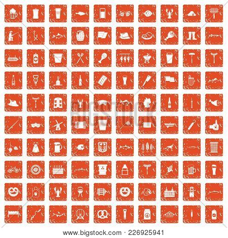 100 Beer Icons Set In Grunge Style Orange Color Isolated On White Background Vector Illustration