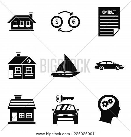 Private Property Icons Set. Simple Set Of 9 Private Property Vector Icons For Web Isolated On White