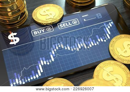 Smartphone With Dollar Trading Chart On-screen Among Piles Of Golden Dollar Coins. Dollar Trading Co