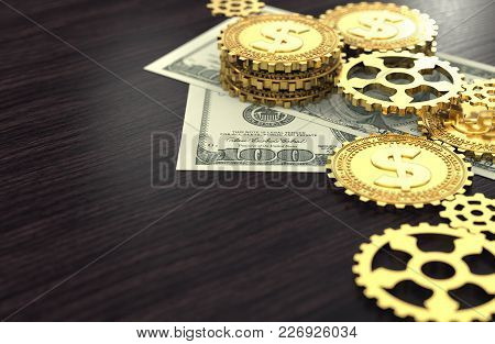 Dollar Coins In The Guise Of Cog As A Part Of Bigger Machine Laying On Dollar Bill. Copy Space On Wo