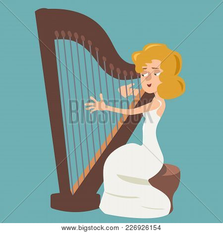 Girl Playing The Harp - Vector Cartoon Illustration In Flat Style