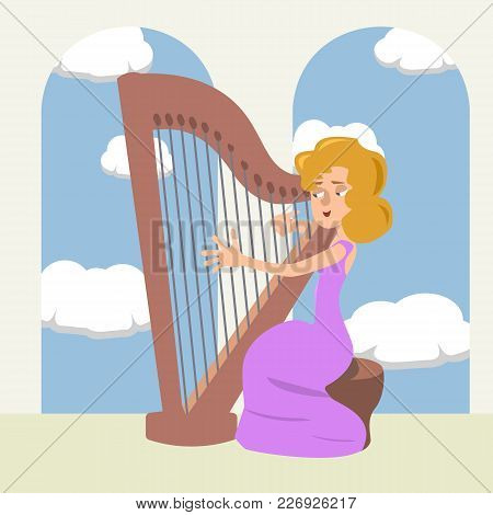 Woman Playing The Harp At Romantic Hall - Vector Cartoon Illustration In Flat Style