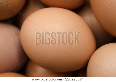 Brown Chicken Eggs In A Chicken Eggs Pile, Egg Surface, A Select Focus Close Up Photo Image On A Sur