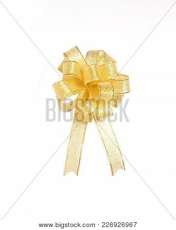 Isolated Bow, Gold Color Silk Bow Isolated On White Background, Luxury Gold Color Ribbon Bow For Dec