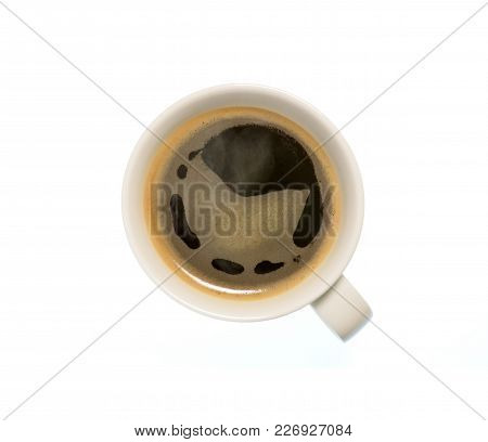 Isolated Cup Of Coffee, Top View Closeup Photo Of Cup Of Hot Black Coffee With Steam Isolated On Whi