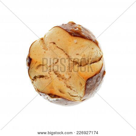 Isolate Pretzel, A Top View Close Up Photo Image Of Pretzel Isolate On White Bright Light Background