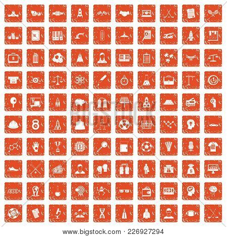 100 Success Icons Set In Grunge Style Orange Color Isolated On White Background Vector Illustration