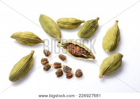 Isolate Cardamom,  A Closeup Photo Image Of Group Of Cardamom Pods And Cardamom Seeds Isolated On Wh
