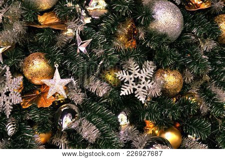 Christmas Tree Decoration, Christmas Tree That Decorate By Silver Snowflakes, Stars And Xmas Balls F