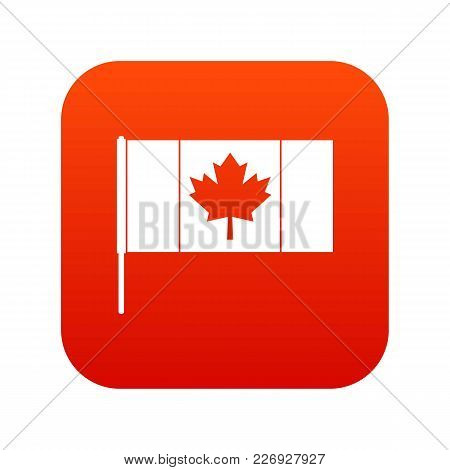 Canada Flag With Flagpole Icon Digital Red For Any Design Isolated On White Vector Illustration