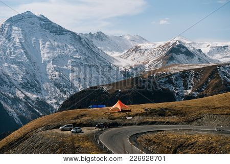Majestic High Mountains Covered With White Snow, Winter Nature, Hills And Road