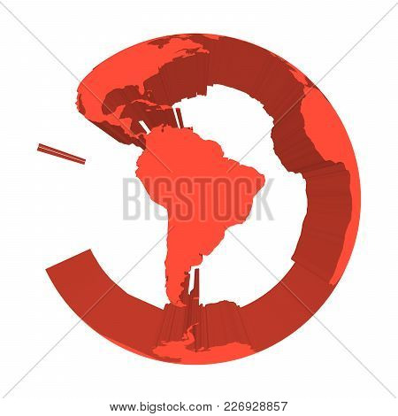 Earth Globe Model With Red Extruded Lands. Focused On South America. 3d Vector Illustration.