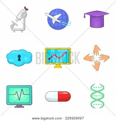 Process Icons Set. Cartoon Set Of 9 Process Vector Icons For Web Isolated On White Background
