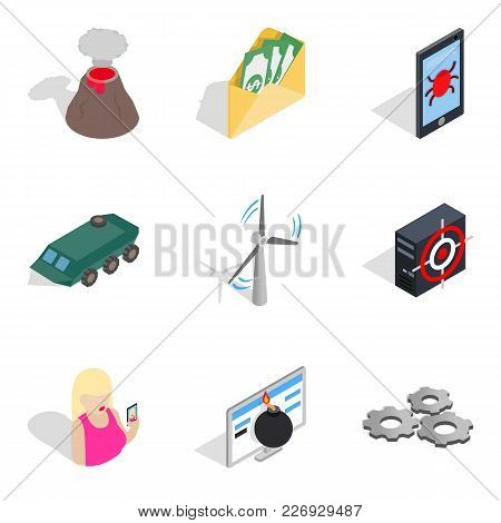 Course Icons Set. Isometric Set Of 9 Course Vector Icons For Web Isolated On White Background