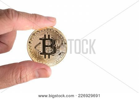 Bitcoin On Electronic Circuit Board. Cryptography And Electronic Money Concept. Currency Trading And