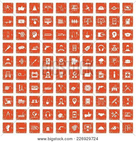 100 Support Center Icons Set In Grunge Style Orange Color Isolated On White Background Vector Illust