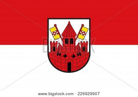 Flag Of Unna Is A City In North Rhine-westphalia, Germany, The Seat Of The Unna District. Vector Ill