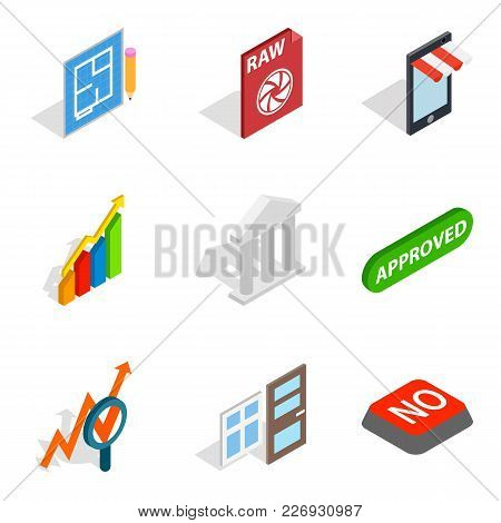 Project Director Icons Set. Isometric Set Of 9 Project Director Vector Icons For Web Isolated On Whi