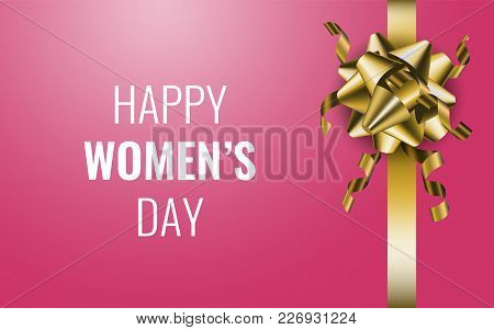 Happy Women's Day. Pink Gift Bow On The Black Background