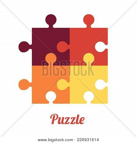 Four Folded Puzzles. Smart Logo And Symbol Of Logic. Vector