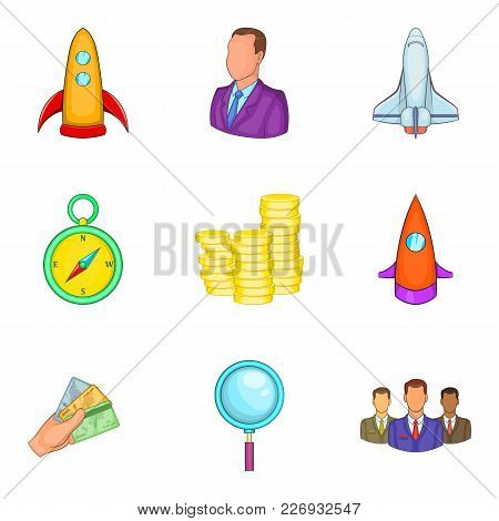 Project Start Icons Set. Cartoon Set Of 9 Project Start Vector Icons For Web Isolated On White Backg