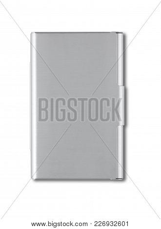 Closed Metallic Card Holder Isolated On White Background