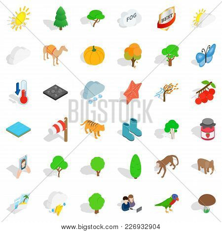 Good Nature Icons Set. Isometric Set Of 36 Good Nature Vector Icons For Web Isolated On White Backgr