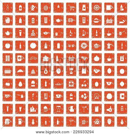 100 Beverage Icons Set In Grunge Style Orange Color Isolated On White Background Vector Illustration