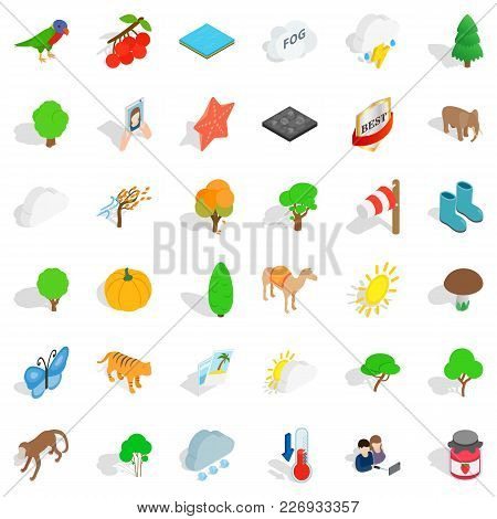Nature Scenery Icons Set. Isometric Set Of 36 Nature Scenery Vector Icons For Web Isolated On White