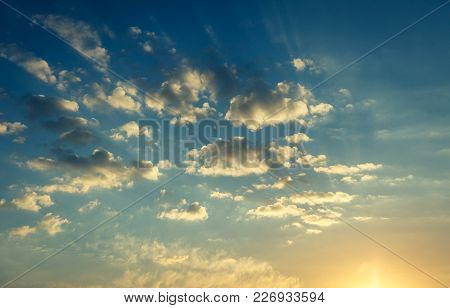 Sky Under In Sunlight.  Wonderful Nature Background