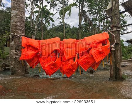 Hanging Safety Jackets In A Recreational Park Located In Sabah, Malaysia.