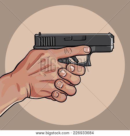 Hand With Gun. Gun Control Using Both Hands. Vector. Illustration