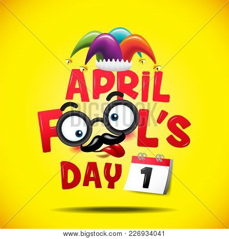 April Fool's Day, Typography, Colorful, Vector Illustration.