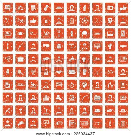 100 Team Work Icons Set In Grunge Style Orange Color Isolated On White Background Vector Illustratio