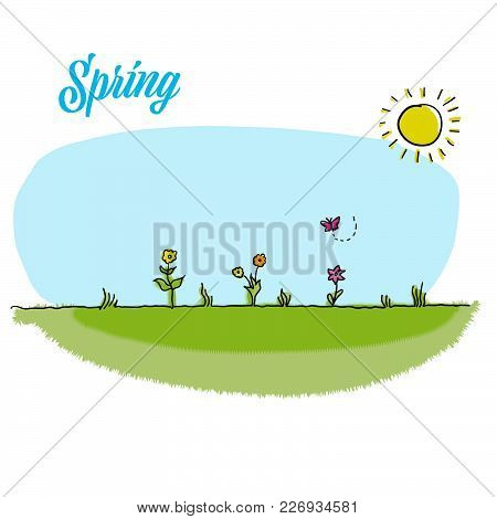 Spring Gardening Vector Background. Hand-drawn Sketched Doodles. Modern Vector Illustration Isolated