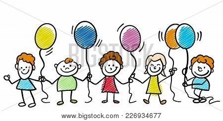 Happy Doodle Kids With Balloons. Hand-drawn Sketches Doodles In Beautiful Outfits And Costumes. Mode
